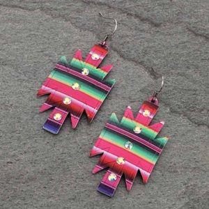 Western Aztec Serape Casting Fish Hook Earrings